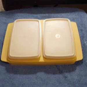 Vintage Tupperware gold/clear Deli Keeper 5 pc Set